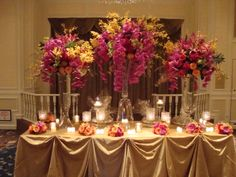 Colorful floral trio abundant with orchids- Northern Greenhouses #wedding @ The Drake, Chicago