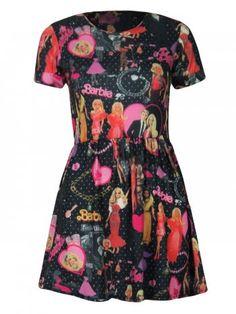 KarmaClothing Black Pink Short Sleeve Barbie Doll Print Skater Dress
