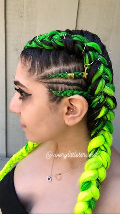 Let's Talk About Braids Cornrows Updo, Braids, Braid Styles, Short Hair Styles, Neon Green Hair, White Girls, Ponytail, Hair Ideas, Snapchat