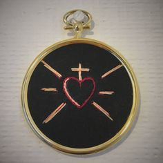 """PLEASE DON'T COPY available on #etsy: Number 11, Sacred heart ex-voto hand made embroidery 2.8"""" / 7cm golden hoop. Religious hand embroidery fiber art wall art #embroidery #sacredheart #religiousart #fibertart #exvoti #parisianpastelstitches"""