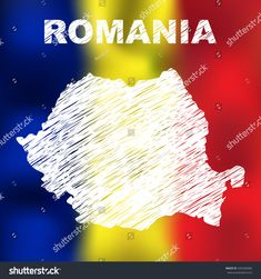 Romania Abstract Romanian Map On Flag Stock Vector (Royalty Free) 435292060
