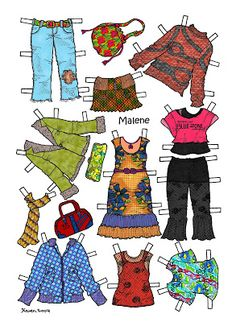 Karen`s Paper Dolls: Malene 1-6 Paper Doll in Colours.Malene 1-6 påklædningsdukke i farver.