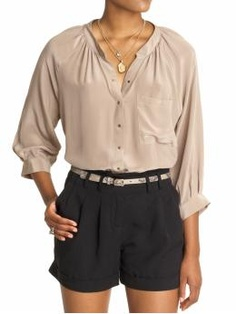 I'm diggin' this summer's look..high-wasted shorts with a satin shirt..not particularly THIS shirt but u get what i'm sayin..