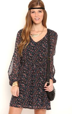 Deb Shops Small Floral Print Chiffon A Line Dress with Split Long Sleeves $21.00