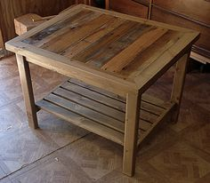 Pallet Table Plans Some Useful Ideas on Making Reclaimed DIY Pallet End Tables and Furniture - Diy Craft Ideas Diy Wood Pallet, Pallet Crafts, Diy Pallet Projects, Wooden Pallets, Pallet Ideas, Wood Projects, 1001 Pallets, Pallet Designs, Pallet Bar