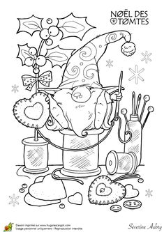 Coloriage les tomtes lutins suedois decorations sur Hugolescargot.com - Hugolescargot.com