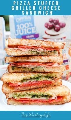 If your kids are fans of pizza and grilled cheese sandwiches, then they will love our twist on these classic food ideas, known as thePizza Stuffed Grilled Cheese Sandwich. Pair with one of the updated Capri Sun flavors, and you've got a great lunch idea for kids! [ad]