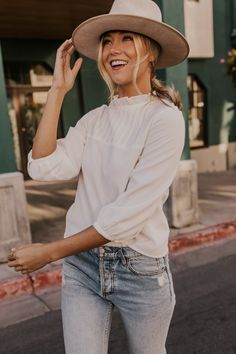 Fall Outfit Ideas for Women - Jessica Robertson Fall Clothing Collection - Simple Ivory Ruffle Blouse Outfits - Simple Layering Tops for Women - Autumn Outfit Inspiration   ROOLEE