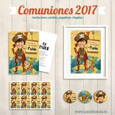 ¡Preparando las comuniones de los grumetillos!... #comunion #fiestapirata #invitaciones #chapas #pegatinas #paragrumetes #cartelpersonalizado