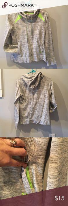 Under armor sweatshirt Underarmour gray sweatshirt with bright green accents Under Armour Tops Sweatshirts & Hoodies