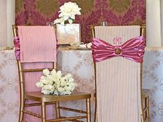 Chair Covers | Sew4Home. free pattern/ instructions. This suggests for a wedding, but would be lovely in a guest room & super easy to monogram.