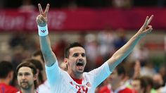Ivan Nincevic of Croatia celebrates victory after the men's Handball Preliminary match between Serbia and Croatia on Day 4 of the London 2012 Olympic Games at The Copper Box.