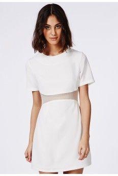 Mesh Waist Detail Mini Dress White
