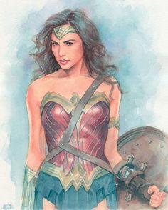 Wonder Woman (Gal Gadot) commission work #watercolor #wonderwoman #galgadot #illustration #fanart #batmanvsuperman #drawing #instaart #arts_help #artfido #art #picoftheday #ilustracion #acuarela #encargo #commission by hectortrunnec