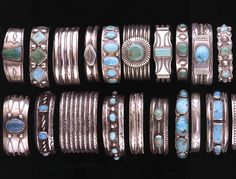 Millicent Rogers Museum, Taos, New Mexico - turquoise and silver bracelets, Navajo, Native American