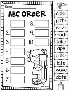 ABC order with long a words and 65 other printable pages to practice long a that are all no prep!!