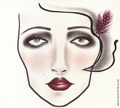 Makeup Facechart - 1920s look inspired by the movie The Great Gatsby