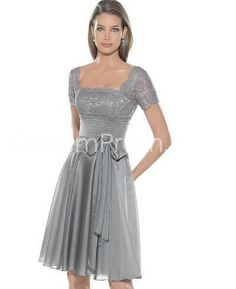 Buy Cheap Cheap Classic Chiffon Princess Square Neckline Capped Sleeves Knee-length Prom Dresses CH800083 Default Category under $145.19 only in Udressprom.