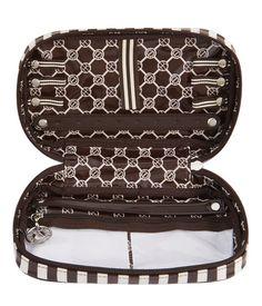 New Brown & White Jewelry Travel Zip Case   Travel   Henri Bendel