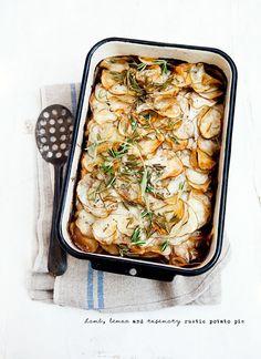 lamb, lemon and rosemary rustic potato pie