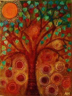 Birds in a Heart Tree by AliceMasonArtist on Etsy, $47.00