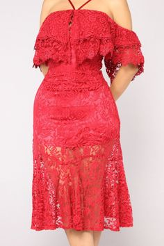 Princess Moment Lace Dress - Red