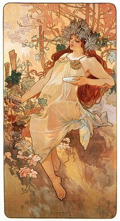 Mucha Autumn (ljpizzo) Tags: flowers autumn woman art fall beautiful leaves ..