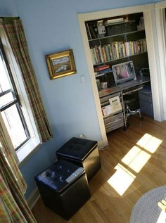 office in a closet. tuck away the chair or use it for extra seating with guests. i try to talk all the people i show apartments into doing this with the understairs closet in our 2 br units.