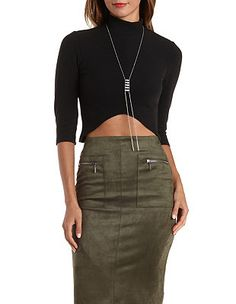 Sunday Rumors Ribbed Mock Neck Crop Top: Charlotte Russe