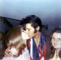 Elvis Backstage with Fans Las Vegas International Hotel circa 1969.