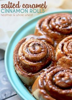 Dairy-free friendly, Whole Wheat Cinnamon Rolls with a salted caramel ...