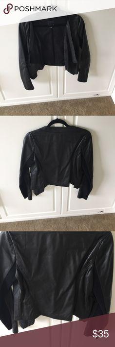 Trouve drape front leather trim jacket small Trouve drape front leather trim jacket small under arm is fabric Trouve Jackets & Coats