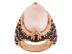 Timna Jewelry Collection(Tm)Oval Peruvian Pink Opal With 7.19ctw Rhodolite & White Topaz Copper Ring