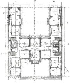 H-shaped House Floor Plans | Original 2nd Floor Plan of the 1906 building.