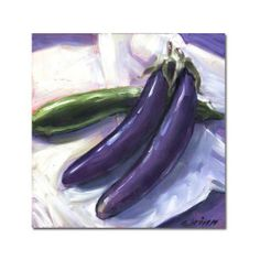 Japanese Eggplant Original Oil Painting Green and Purple 6x6 panel   GildedOwlJewelry - Painting on ArtFire