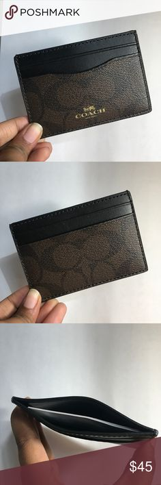 TOP TRENDS HOST PICK!!! Coach Card Holder Wallet This super cute card holder wallet is authentic from Coach. Features 2 slots on the front and 2 on the back with a wider slot in the middle. Perfect for just carrying around the few cards you need instead of a whole wallet or wristlet. New with tags inside!! Make me an offer!! Coach Accessories Key & Card Holders