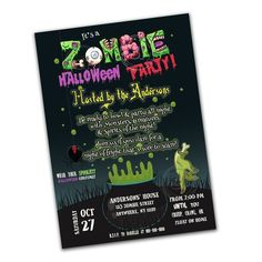 Halloween Party Customized Printable Invitation-Zombie Halloween Printable or Invitation-Spooky Theme Halloween Party Invitation Halloween Printable, Printable Party, Printable Tags, Printable Invitations, Baby Shower Invitations, Halloween Party Invitations, Birthday Invitations, Spooky Costumes
