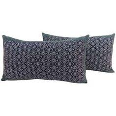 Pair of Vintage Indigo Japanese Lumbar Pillows