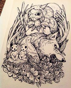 """Cut off a wolf's head and it still has the power to bite"" fan art for one of my favourite films Princess Mononoke. Characters are from Studio Ghibli You can also find me. Miyazaki, Ghibli Tattoo, Tatouage Delta, Tattoo Samurai, Wolf Skull, Studio Ghibli Art, Ghibli Movies, Anime Tattoos, Totoro"