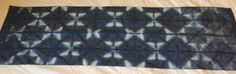 Right angle triangle folded shibori piece. Dyed December 2014 at home.