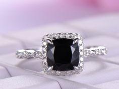 Cushion black spinel Engagement Ring Pave Diamond Wedding 14K White Gold 6.5mm