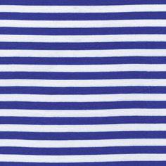 1/2 Royal/White Stripes Rayon Jersey Stretch Knit by StylishFabric, $5.50