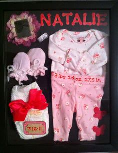 I finally had some time to work on this project. Found my baby girl's preemie clothes and other things to put into this shadow box frame :) Daddys Girl, My Baby Girl, Baby First Outfit, Preemie Clothes, Baby Memories, Shadow Box Frames, Nursery Room Decor, Baby Fever, Baby Shower