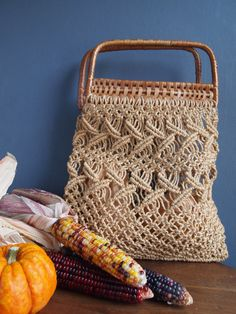 Woven market bag string bag bamboo bag boho handbag