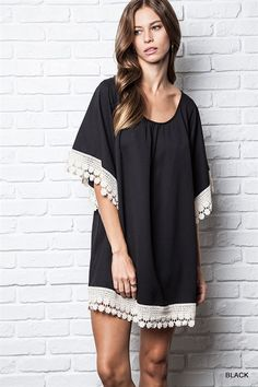 Black Short Sleeve Lace Trimmed Tunic