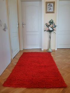 Woolen rug, red rug, wool and cotton rug, area rug, floor rug, carpet, textile rug by ThrowBlanket on Etsy
