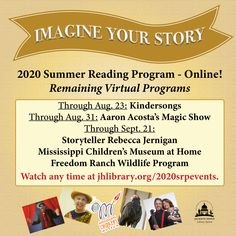 SUMMER READING PROGRAM UPDATE: We're still having fun all summer long with our virtual programs! There's still time to watch Kindersongs, Freedom Ranch and more at jhlibrary.org/2020srpevents. ✨✨✨ #SRP2020 #ImagineYourStory
