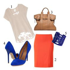 how to wear a coral pencil skirt...