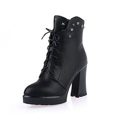 AllhqFashion Womens Round Closed Toe PU Zipper Highheels Lowtop Boots Black 36 -- Read more reviews of the product by visiting the link on the image.