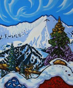 """""""Call of the Fernie Elk"""" by Canadian artist K. So many side stories in this wonderful painting. Mountain Paintings, Canadian Artists, Elk, Fashion Art, Folk Art, Landscapes, Trees, Canada, Artwork"""